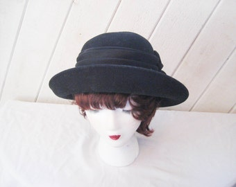 Black wool felt hat, turned up brim, decorative large bow hat, formal church Sunday hat, Betmar hat, made in USA, 22 inch hat