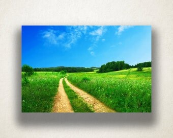 Dirt Path in Vibrant Field Canvas Art, Vibrant Field Wall Art, Dirt Road Canvas Print, Photograph, Canvas Print, Home Art, Wall Art Canvas