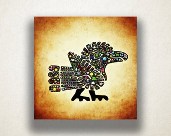 Colorful Aztec Bird Canvas Art Print, Symbolic Bird Wall Art, Artistic Wall Art, Canvas Art, Canvas Print, Home Art, Wall Art