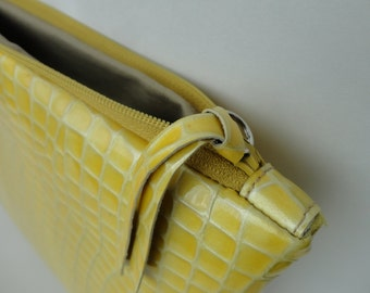 Yellow leather clutch, yellow leather purse, small bag, woman clutch