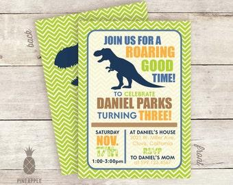 Chevron Dinosaur Birthday Party Invitations