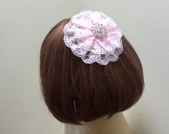 Pink Lace Kippah, Light Pink Jewish Head Covering, Rhinestone Kippa