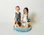 Beach nautical Theme Wedding Cake Topper with dog and rabbit - Custom made bride and groom wedding cake topper