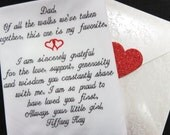 Embroidered Wedding Handkerchief, Personalized, Dad Wedding Gift. Of all the walks we've taken together this one is my favorite.........