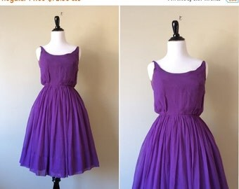 25% OFF FLASH SALE vintage 1960s dress / 60s purple chiffon party dress by Howard Hirsh with full skirt and sleeveless bodice / Xs 24 waist