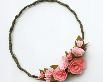 Felt Wildflower Wreath - Spring Wreath - Pale Pink and Peach Roses - Mother's Day Gift - Ready to Ship
