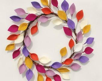 Bright Summer Wreath with Felt Leaves - Boho Modern Wreath in Purple, Orange, Raspberry, Yellow - Unique Decor
