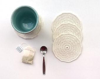 Crochet Coasters White Cotton