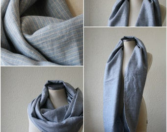 scarve SCARF autumn circle infinity scard/ scarve scarf / cowl /men - women IN LINEN, light blue and beige stripes