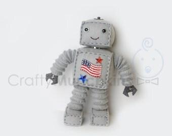 Cute Grey USA Standing Plush Felt Robot