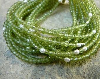 Peridot Bracelet, Gemstone Bracelet, Pearl bracelet, Peridot Cuff, Cuff Bracelet, Multi Strand Bracelet, August Birthstone Bracelet