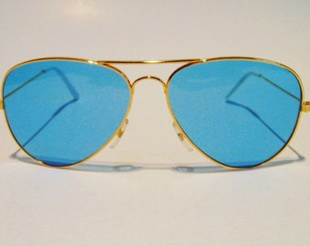 Vintage Gold Aviator Sky Blue Lenses Sunglasses