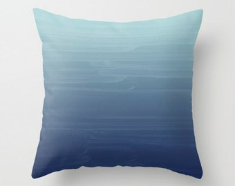Baby Blue to Navy Gradient Ombre Painted Appearance /Zippered Pillow Art cushion case cover / Indoor or Outdoor 2-Sided 16X16 18X18 20X20