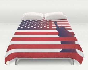 American Flag Duvet cover USA Flag Duvet cover Flag gift idea Wolf duvet cover King duvet cover queen duvet cover twin duvet cover full duve