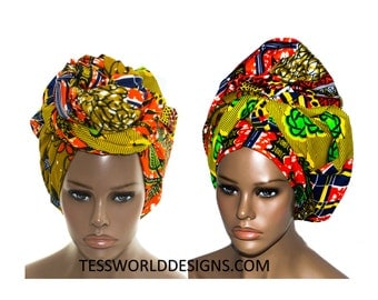 Vibrant patchwork head wraps/ African Head wraps/ Scarves/ African Fabric/ African hair accessory/ African Head scarf/ HT138