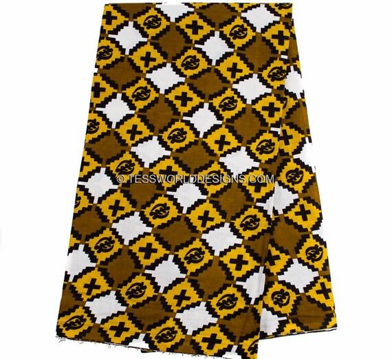 Brown Fabric With Adinkra Symbols Gye Nyame Printed In