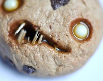Creepy Halloween Zombie Chocolate Chip Cookie with Glow In The Dark Eyes - Polymer Clay Necklace