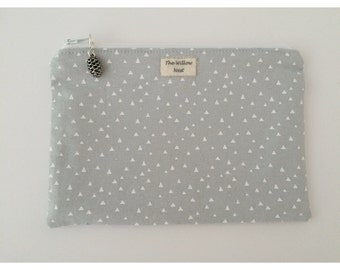 Silver Metallic Triangle Grey Zip Pouch with Pine Cone Charm