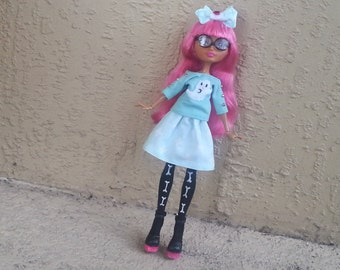 Pastel Goth Monster Doll T-shirt and Skirt Set with Hair Bow Ever After Outfit