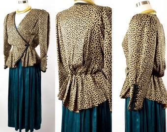 Silk 1980s vintage peplum leopard print jacket