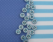Jewish Symbol in blues turquoise and white, Star of David beads, polymer clay round flat beads, set of 20 Polymer clay beads