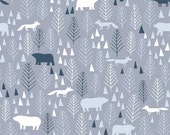 Grey Icy Pines by Dear Stella The Big Chill Bear Fabric Fox Quilt Modern Fabric Gray Forest Fabric Modern Quilting Gray and Navy Fabric