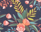 20% off! 1canoe2 Floral Prairie in Stormy for Moda Fabric - Tucker Prairie - Moda Floral - Navy Floral - 1canoe2 Fabric Navy Floral Material