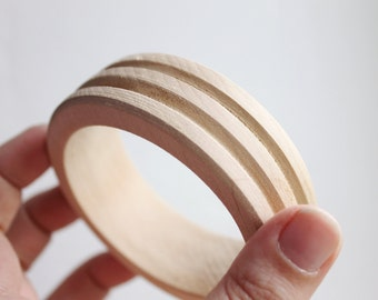 25 mm Wooden bangle unfinished round with longitudinal grooves - natural eco friendly - GS-25