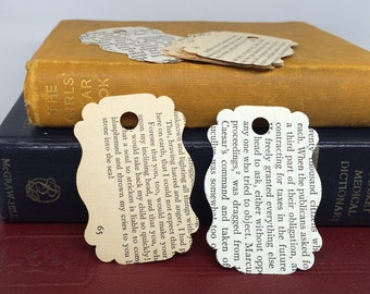 Mixed Book Page Gift Tags, Recycled Book Scrapbooking Supplies, DIY Gift Tags, Christmas Gift Tags