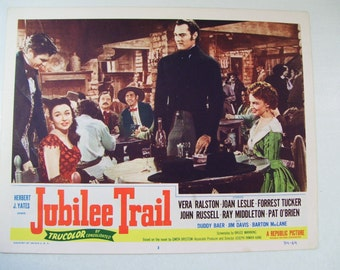 Antique Western Jubilee Trail Movie Lobby Poster Card, 1954, Vera Ralston, Forrest Tucker, Joan Leslie