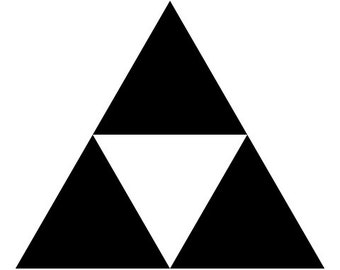 Triforce logo combination vinyl decal for car windows, laptops, tablets and phones.