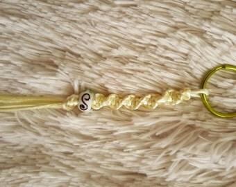 Light Yellow Swirly Satin Cord Keychain