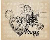 Paris love ephemera Instant Digital download graphic image for iron on transfer Burlap Decoupage Pillow Card Totes No. gt328