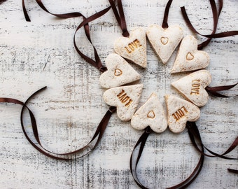 Boho heart ornaments cottage chic white wedding favours bridal shower birthday party favours baby shower bohemian ivory gold brown