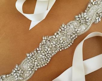 Wedding Dress Sash - Rhinestone - Pearl - Swarovski - MONTANA Sash - BRAND NEW
