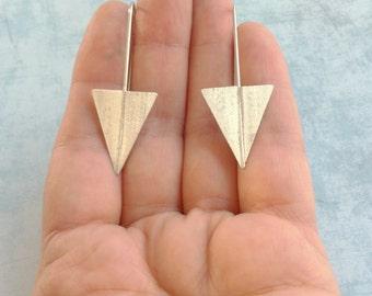 Silver arrow hook earrings - minimalist geometric earrings -contemporary jewelry- long triangle earrings - dangle and drop - arrow earrings
