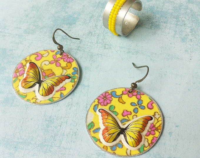 jewelry set -paper jewellery -circle butterfly earrings -dangle and drop -clip on earrings -beads ring adjustable size - discount jewellery