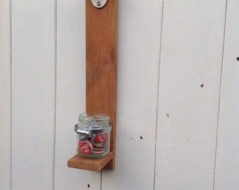 Upcycled wooden wall mounted bottle opener