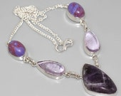 Free Shipping worldwide pretty gemstone amethyst and topaz with marbled quartz crystal necklace 26inch length free size ajustable fastener