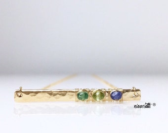 Custom Birthstone Bar Necklace / Gold Bar Necklace / Gift for Her / New Mom Gift / Mothers Jewelry/ Sprinkle Gift / Birthstone Bar Necklace