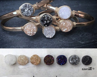 Bridal Cuff Bracelet / Modern Bride Jewelry / Champagne Druzy Cuff / White And Gold Bridal Cuff / Summer Wedding Jewelry / Minimalist Bride