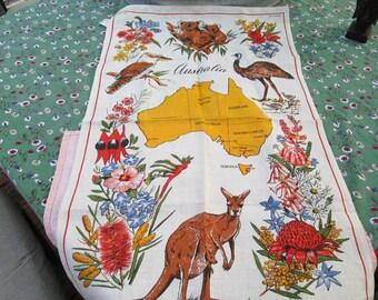 Australia tea towel in linen vintage