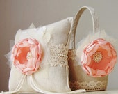 Flower Girl Basket,  Ring Bearer Pillow, Wedding, Coral Flower Girl Basket, Vintage Basket and Pillow Set