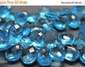 sale AAA Swiss blue quartz gemstone briolette- faceted Swiss blue quartz pear briolette- set of 20 PCs- 13.5-14 mm No.670