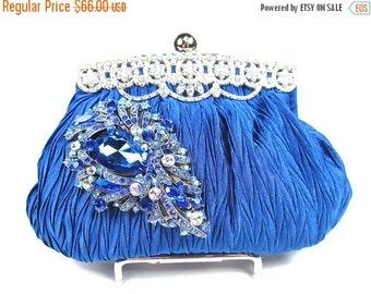 SALE 30% OFF Royal Blue Crystal Rhinestone Bridal Clutch, Wedding Purse