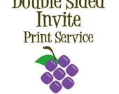 Double Sided Invitation Print Service - A7 - 5x7 Cardstock Double Side Print with White Envelopes - Any of my Personalized Invite Designs