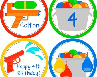 Water Party Circles - Red Blue Green Orange, Water Balloons, Water Gun, Water Personalized Birthday Party Circles - A Digital Printable File