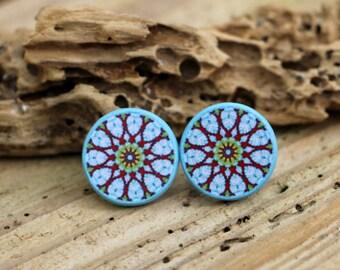 Mandala Stud Earrings, Whimsical Hippie, Boho Jewellery, Decoupage Jewelry, Unique Gift, Original OOK Posts, Trending Mandala Art, Big Studs