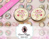 75% OFF SALE Digital Collage Sheet Circle 14 mm SHABBY Chic 02 also for 12 mm pairs of earrings