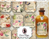 75% OFF SALE SHABBY Chic Roses Labels Digital Collage Sheet Paris French Embellishments Digital Tags Instant Download